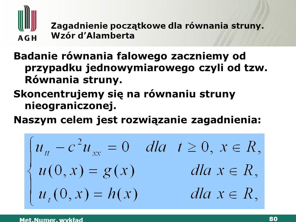 Zagadnienie początkowe dla równania struny. Wzór d'Alamberta