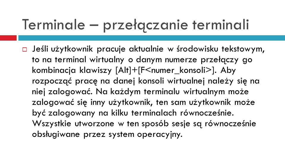 Terminale – przełączanie terminali