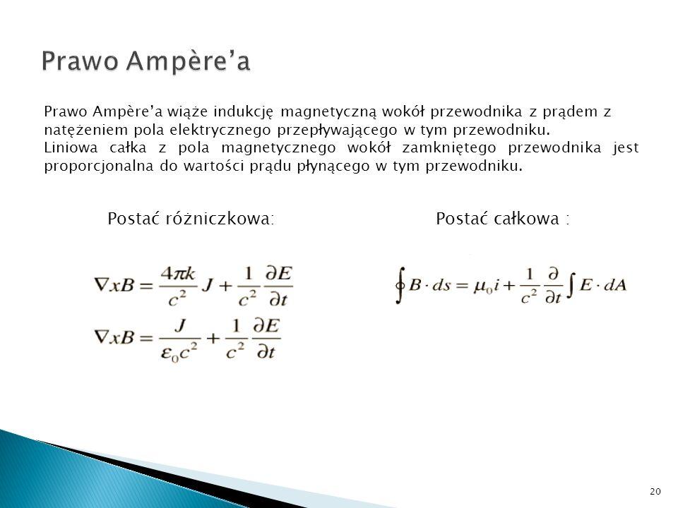 Prawo Ampère'a Postać różniczkowa: Postać całkowa :