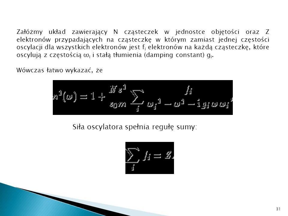 Siła oscylatora spełnia regułę sumy: