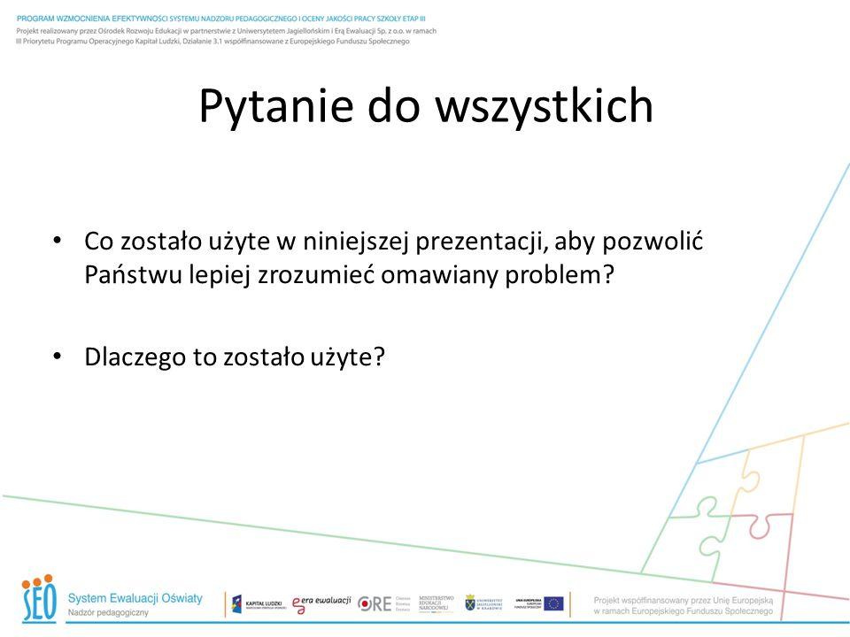 Pytanie do wszystkich Co zostało użyte w niniejszej prezentacji, aby pozwolić Państwu lepiej zrozumieć omawiany problem