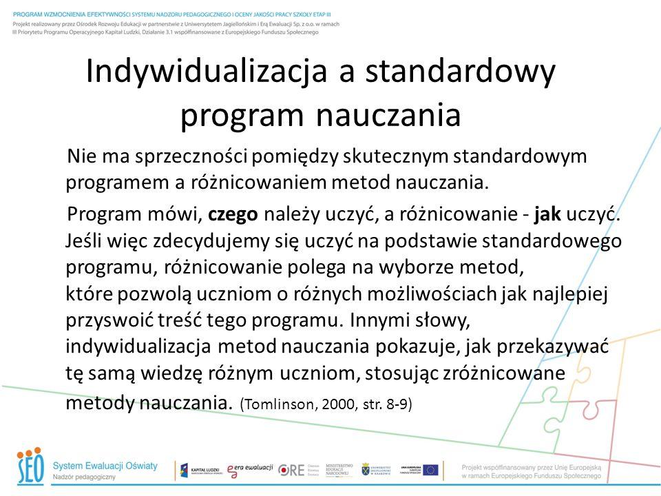 Indywidualizacja a standardowy program nauczania