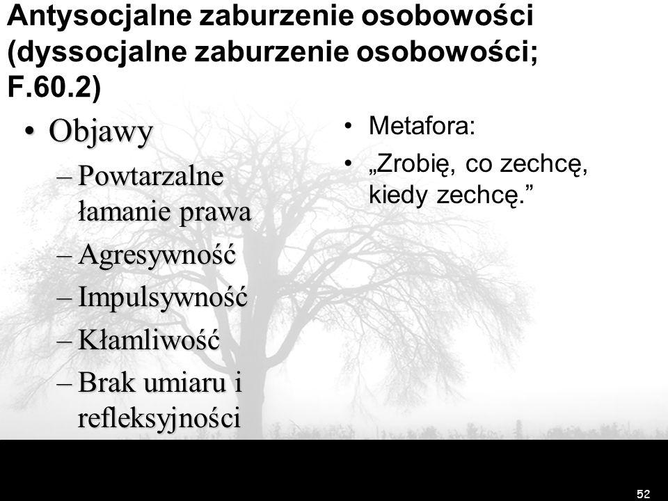 Antysocjalne zaburzenie osobowości (dyssocjalne zaburzenie osobowości; F.60.2)