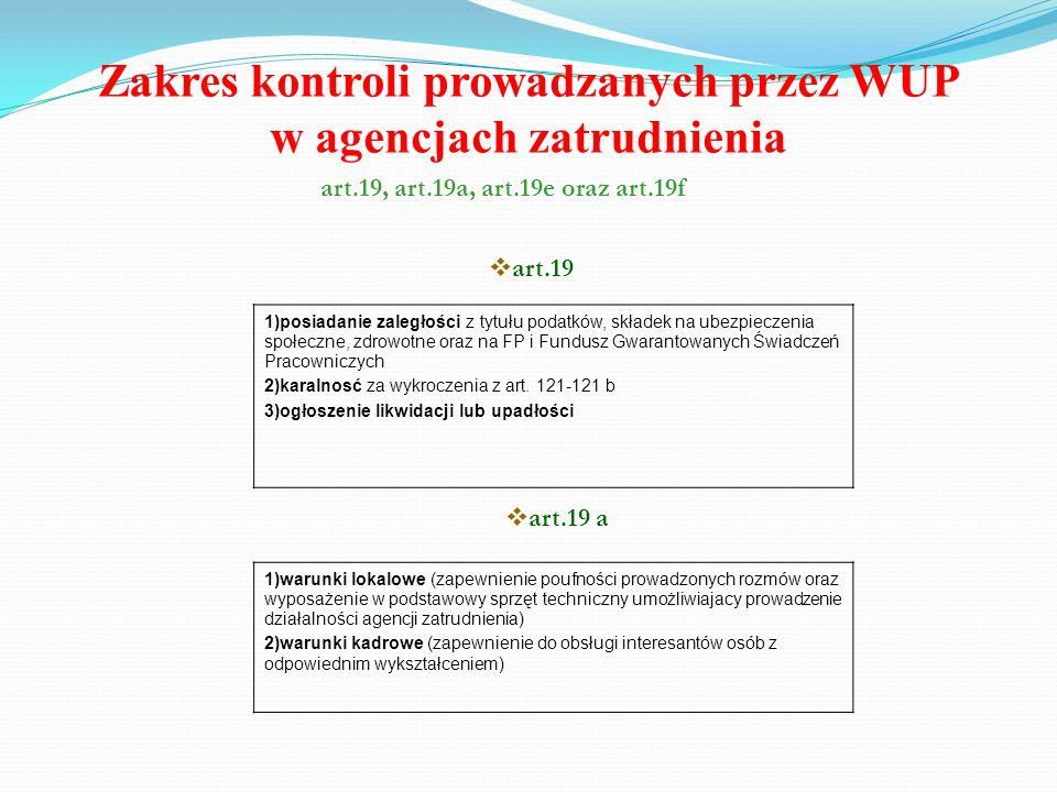 Zakres kontroli prowadzanych przez WUP w agencjach zatrudnienia