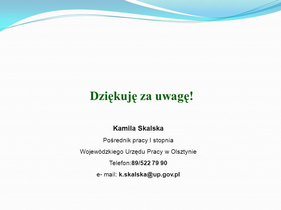 Dziękuję za uwagę! Kamila Skalska Pośrednik pracy I stopnia