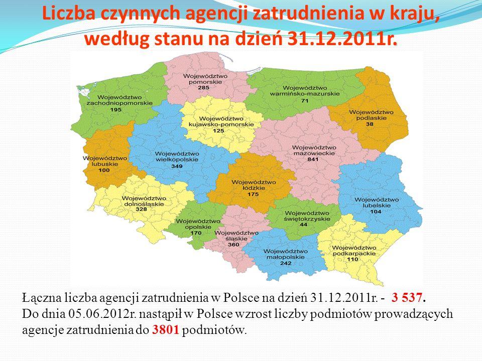 Liczba czynnych agencji zatrudnienia w kraju, według stanu na dzień 31