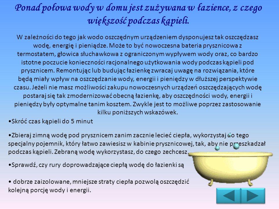 Ponad połowa wody w domu jest zużywana w łazience, z czego większość podczas kąpieli.