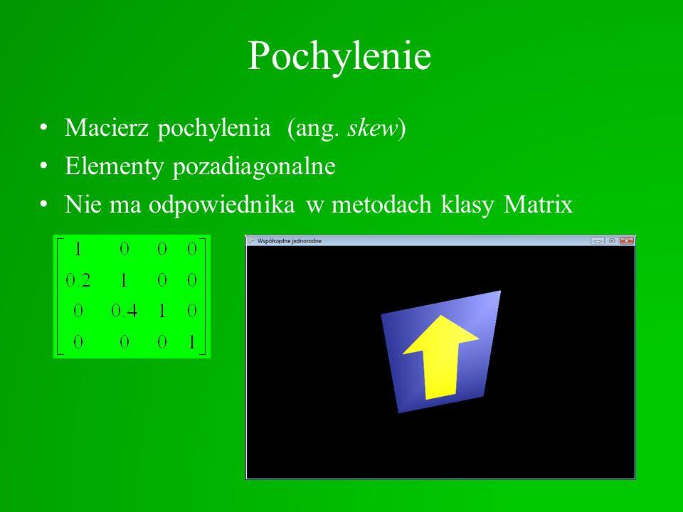 Pochylenie Macierz pochylenia (ang. skew) Elementy pozadiagonalne