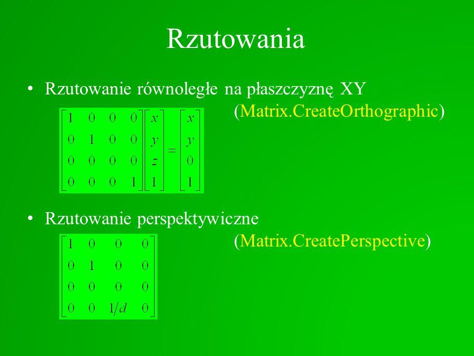 Rzutowania Rzutowanie równoległe na płaszczyznę XY (Matrix.CreateOrthographic)