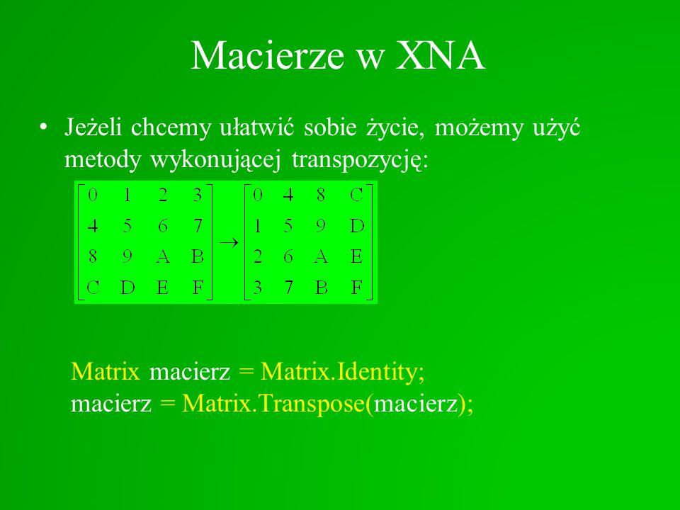 Macierze w XNA Jeżeli chcemy ułatwić sobie życie, możemy użyć metody wykonującej transpozycję: Matrix macierz = Matrix.Identity;