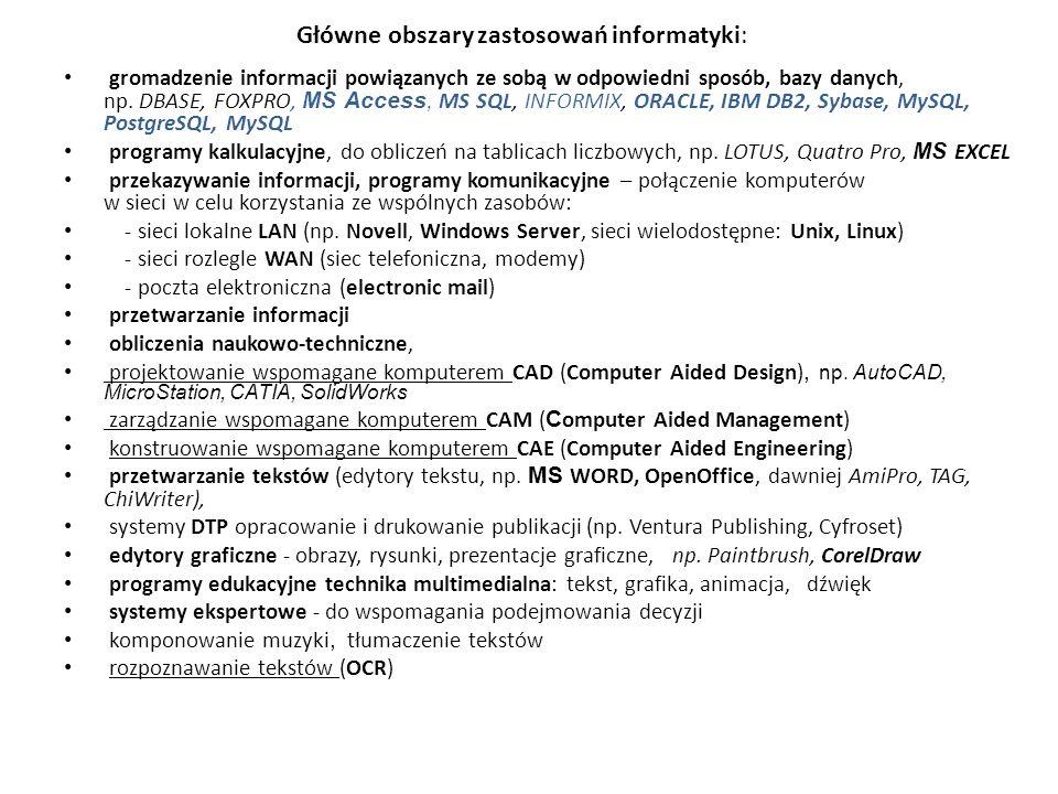 Główne obszary zastosowań informatyki: