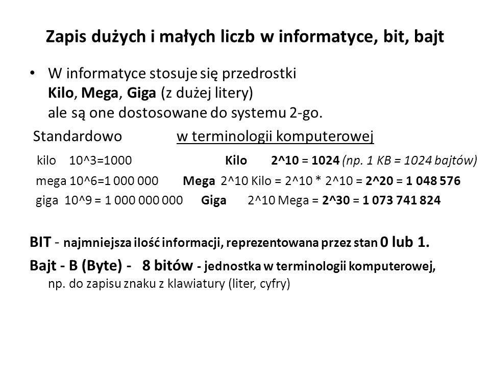 Zapis dużych i małych liczb w informatyce, bit, bajt
