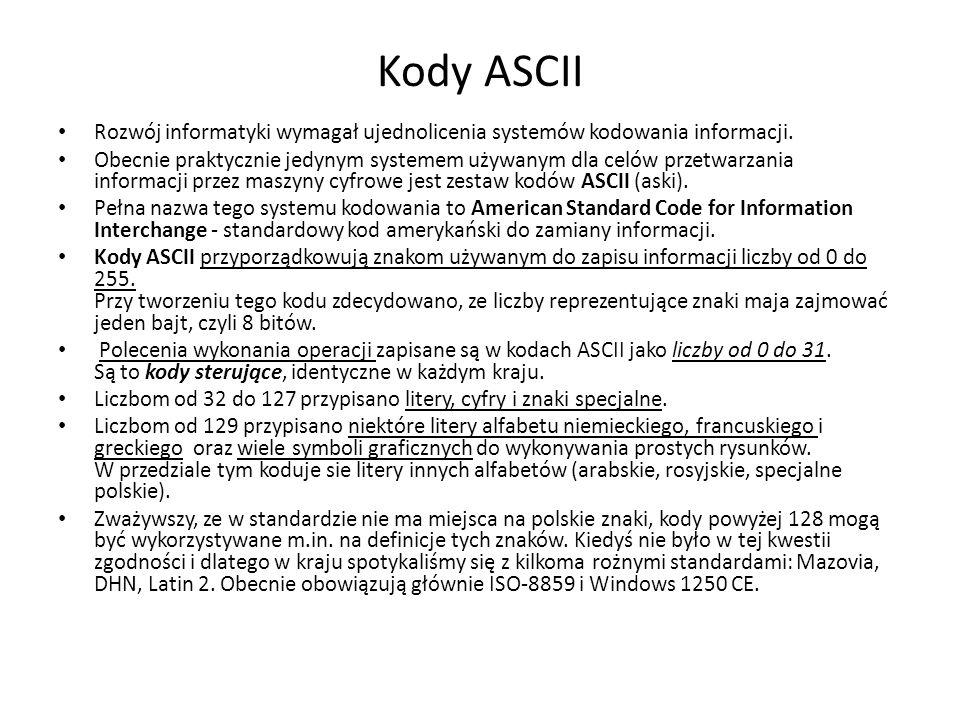 Kody ASCII Rozwój informatyki wymagał ujednolicenia systemów kodowania informacji.
