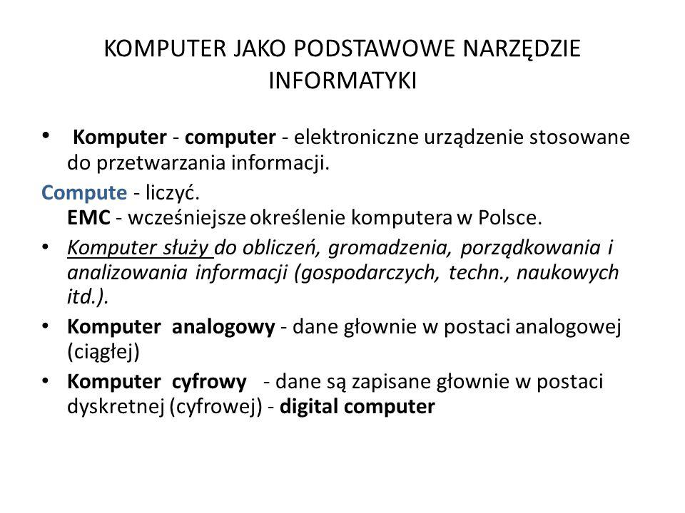 KOMPUTER JAKO PODSTAWOWE NARZĘDZIE INFORMATYKI