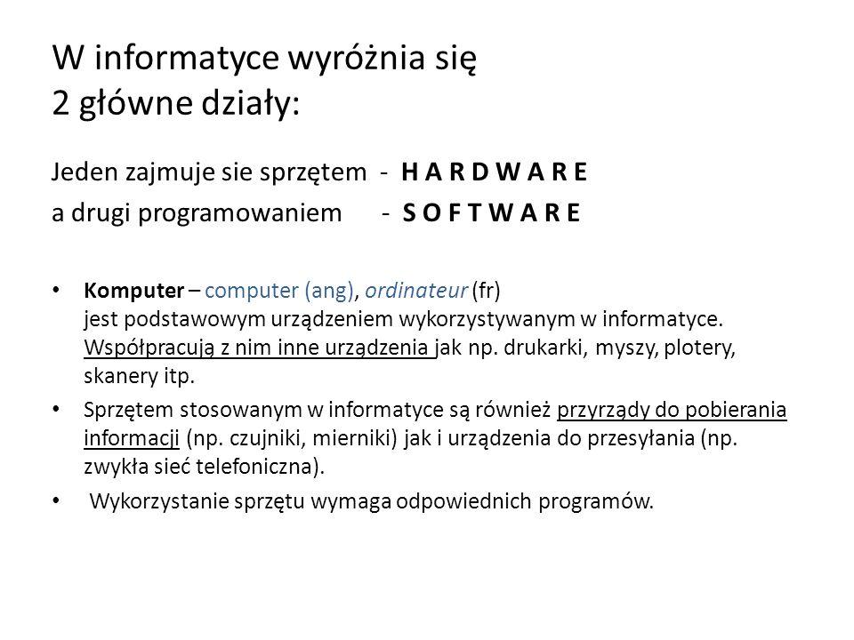 W informatyce wyróżnia się 2 główne działy: