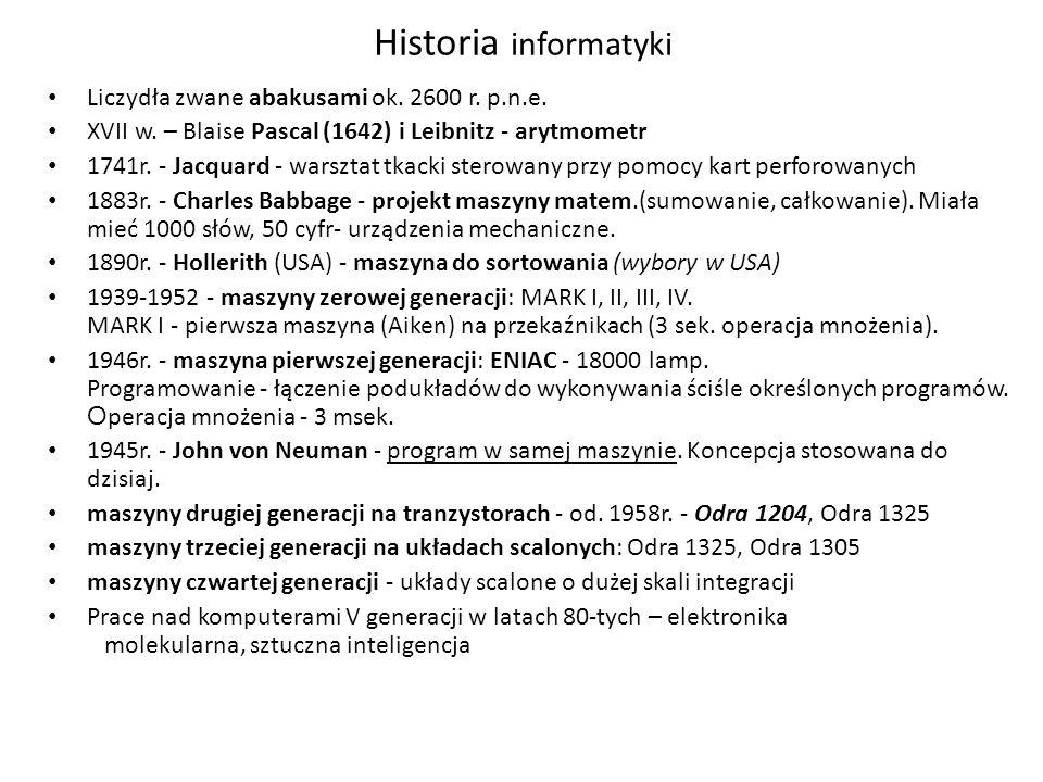 Historia informatyki Liczydła zwane abakusami ok. 2600 r. p.n.e.