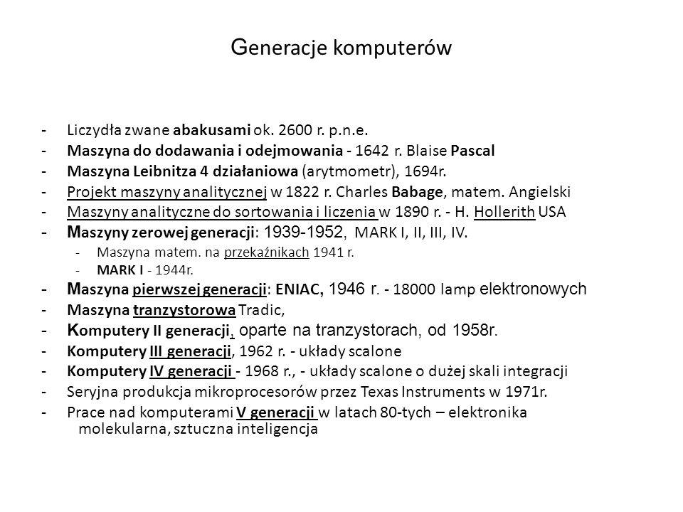 Generacje komputerów Liczydła zwane abakusami ok. 2600 r. p.n.e.