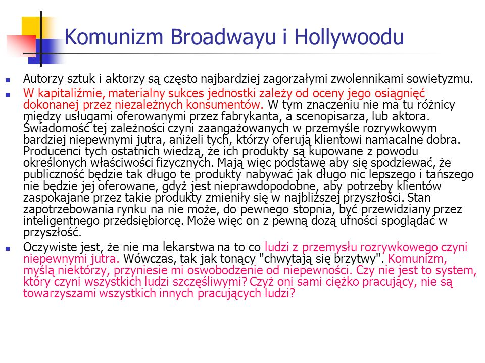 Komunizm Broadwayu i Hollywoodu