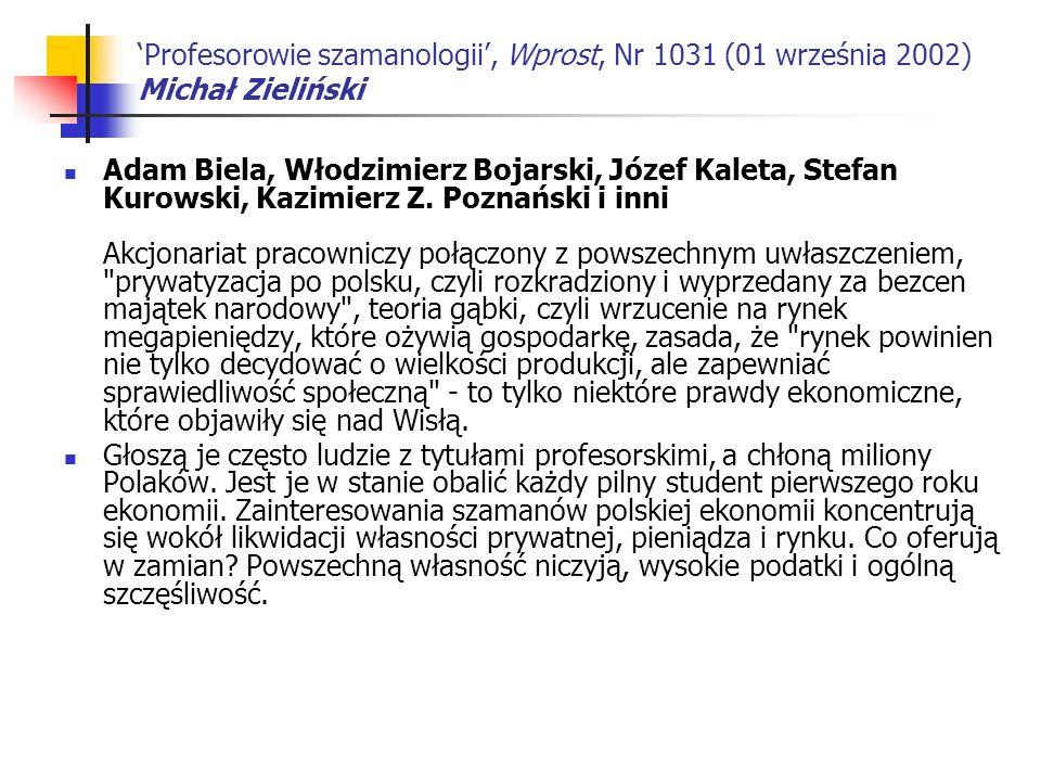 'Profesorowie szamanologii', Wprost, Nr 1031 (01 września 2002) Michał Zieliński