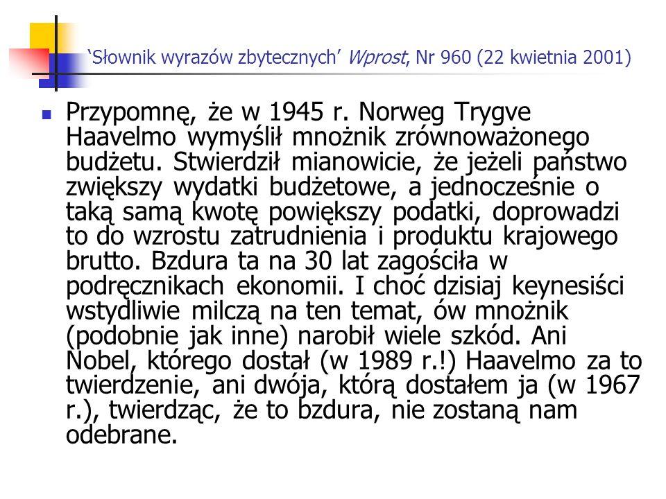 'Słownik wyrazów zbytecznych' Wprost, Nr 960 (22 kwietnia 2001)