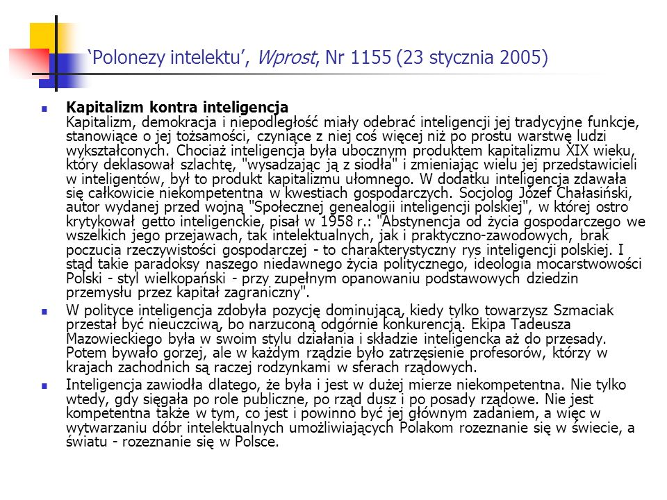'Polonezy intelektu', Wprost, Nr 1155 (23 stycznia 2005)
