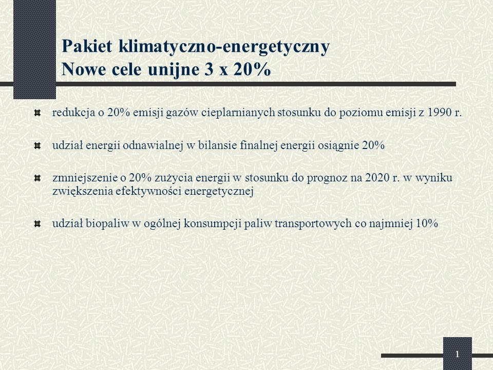 Pakiet klimatyczno-energetyczny Nowe cele unijne 3 x 20%