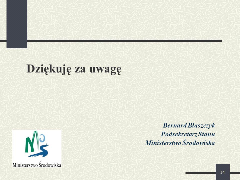 Dziękuję za uwagę Bernard Błaszczyk Podsekretarz Stanu