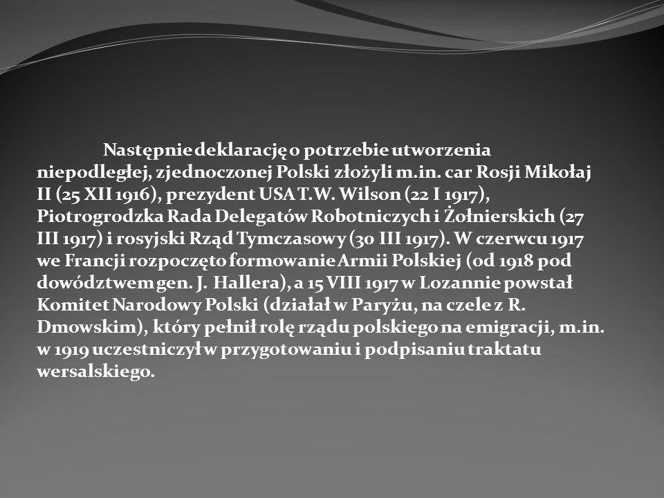 Następnie deklarację o potrzebie utworzenia niepodległej, zjednoczonej Polski złożyli m.in.