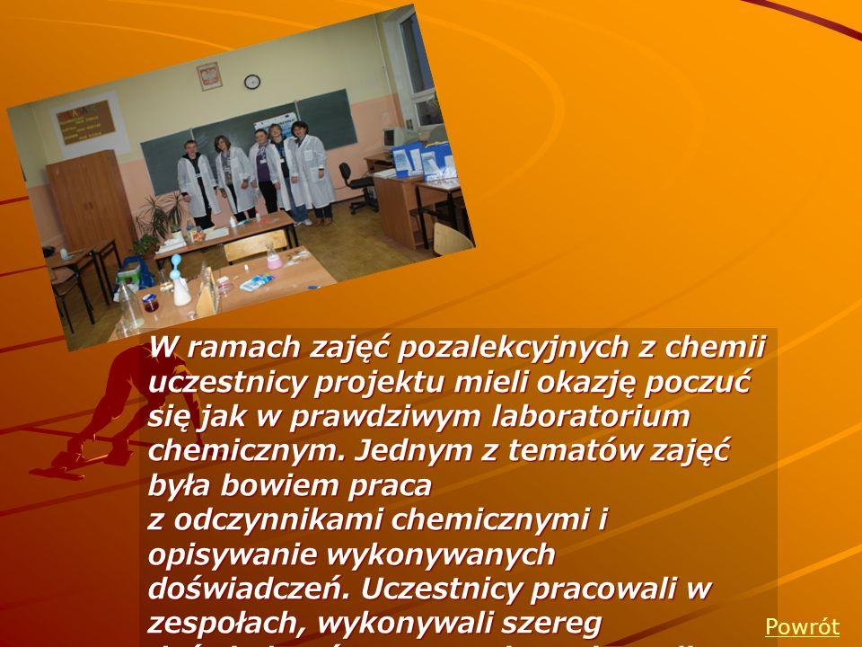 W ramach zajęć pozalekcyjnych z chemii uczestnicy projektu mieli okazję poczuć się jak w prawdziwym laboratorium chemicznym. Jednym z tematów zajęć była bowiem praca z odczynnikami chemicznymi i opisywanie wykonywanych doświadczeń. Uczestnicy pracowali w zespołach, wykonywali szereg doświadczeń a następnie zapisywali wnioski zachodzących reakcji.