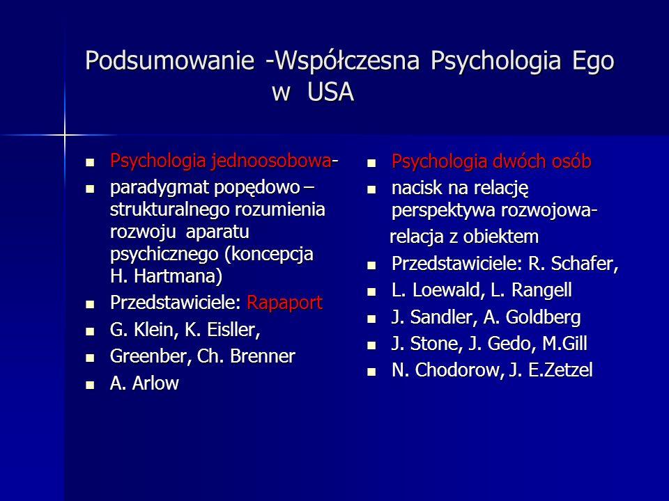 Podsumowanie -Współczesna Psychologia Ego w USA