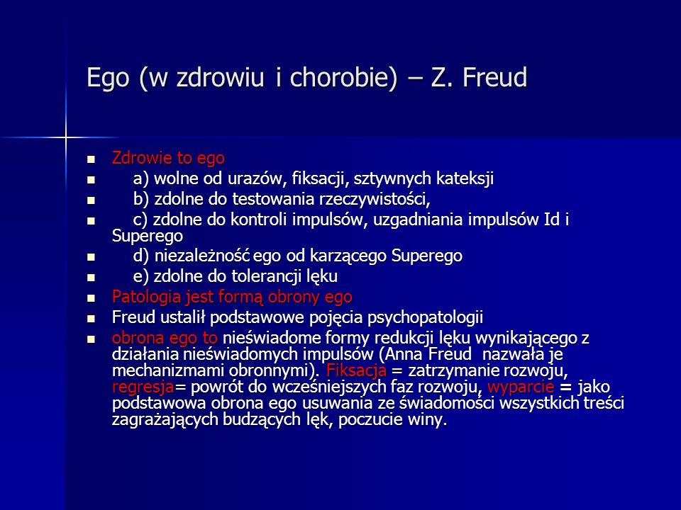 Ego (w zdrowiu i chorobie) – Z. Freud