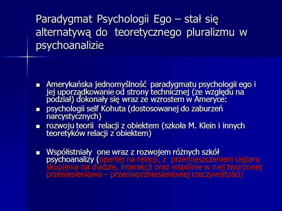 Paradygmat Psychologii Ego – stał się alternatywą do teoretycznego pluralizmu w psychoanalizie