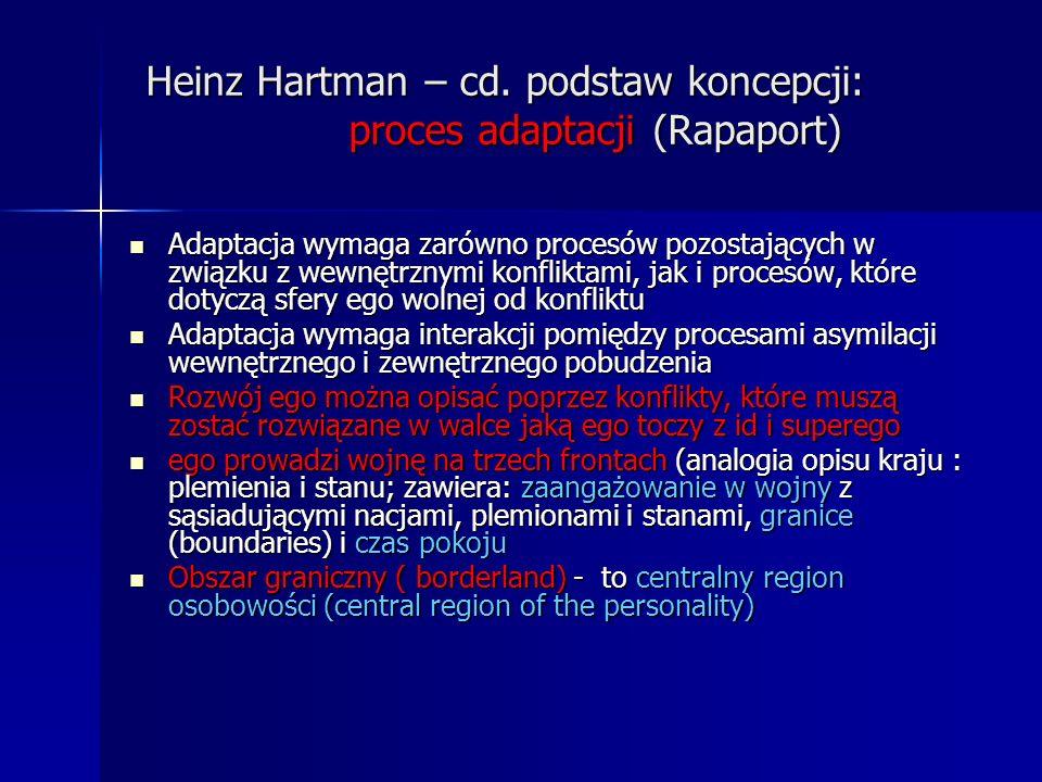Heinz Hartman – cd. podstaw koncepcji: proces adaptacji (Rapaport)
