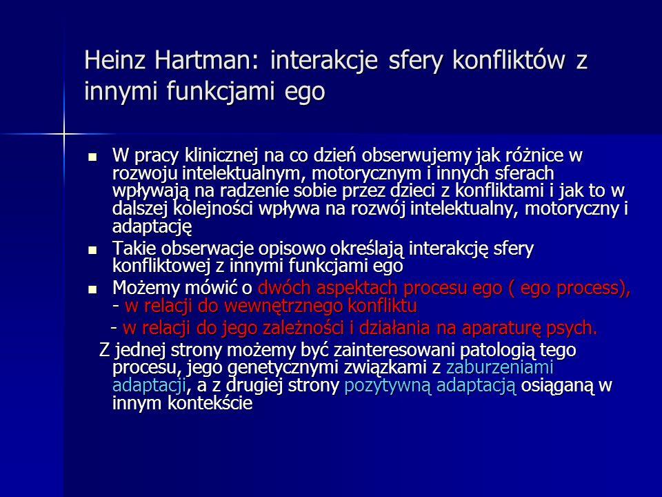 Heinz Hartman: interakcje sfery konfliktów z innymi funkcjami ego