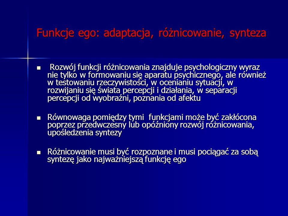 Funkcje ego: adaptacja, różnicowanie, synteza