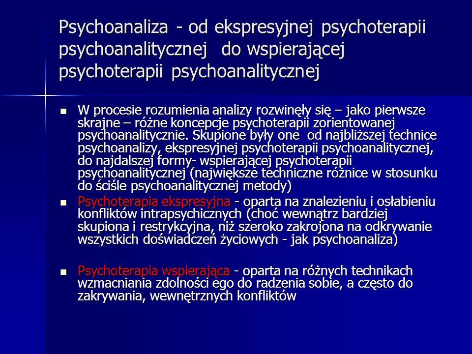 Psychoanaliza - od ekspresyjnej psychoterapii psychoanalitycznej do wspierającej psychoterapii psychoanalitycznej