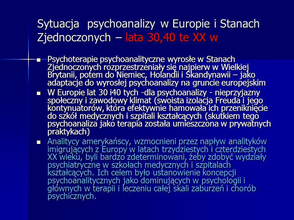 Sytuacja psychoanalizy w Europie i Stanach Zjednoczonych – lata 30,40 te XX w