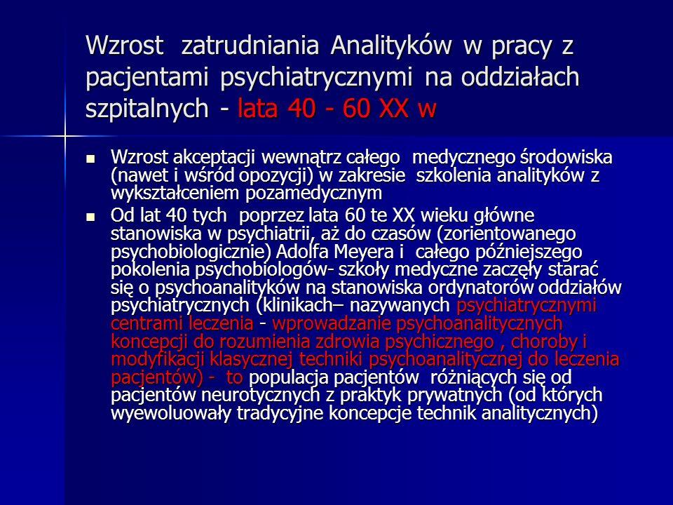 Wzrost zatrudniania Analityków w pracy z pacjentami psychiatrycznymi na oddziałach szpitalnych - lata 40 - 60 XX w