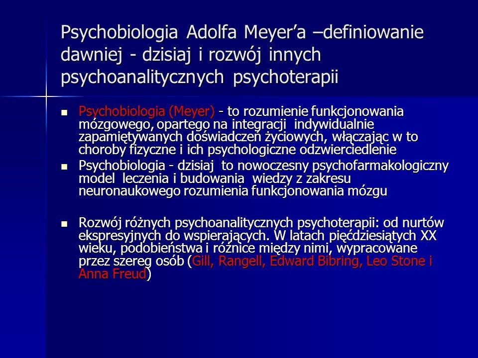 Psychobiologia Adolfa Meyer'a –definiowanie dawniej - dzisiaj i rozwój innych psychoanalitycznych psychoterapii
