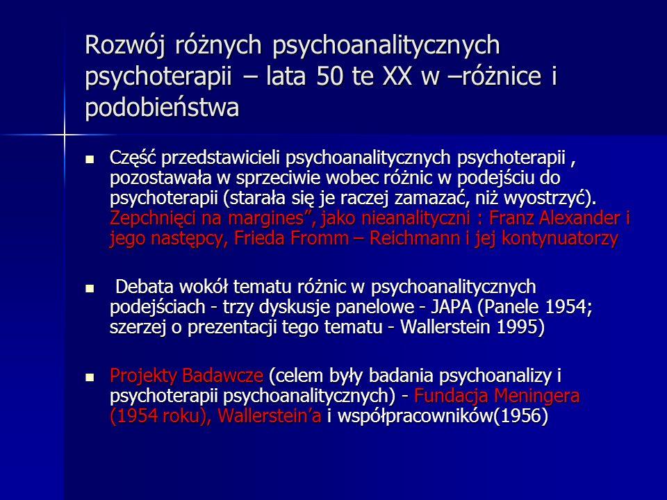 Rozwój różnych psychoanalitycznych psychoterapii – lata 50 te XX w –różnice i podobieństwa