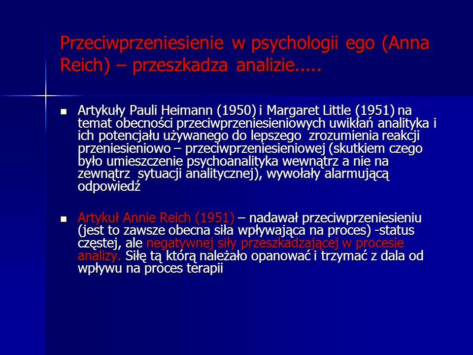 Przeciwprzeniesienie w psychologii ego (Anna Reich) – przeszkadza analizie.....