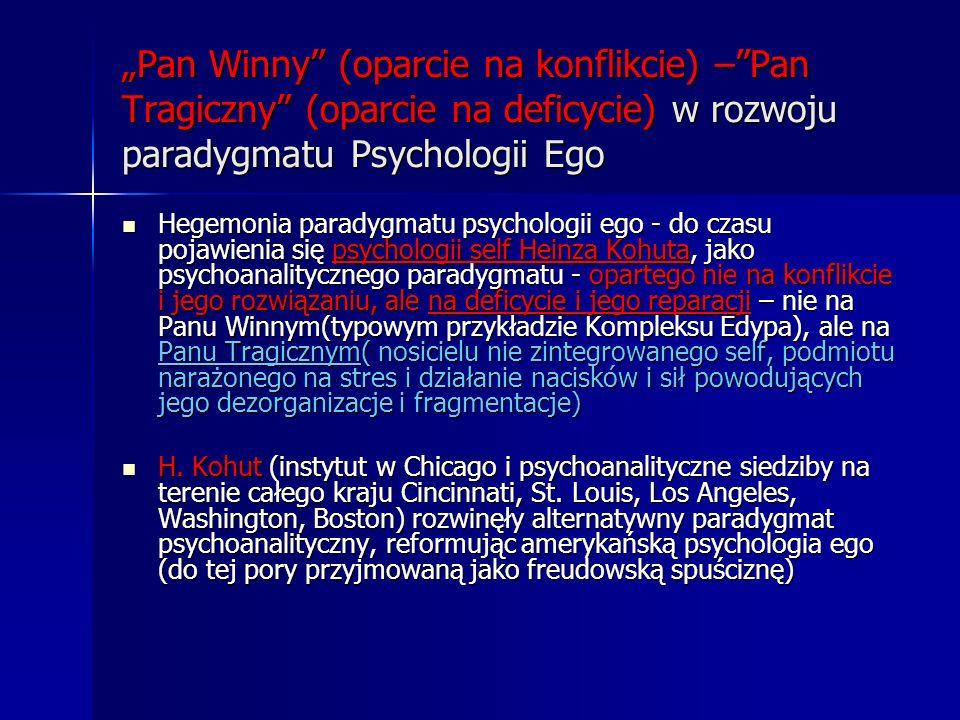 """""""Pan Winny (oparcie na konflikcie) – Pan Tragiczny (oparcie na deficycie) w rozwoju paradygmatu Psychologii Ego"""