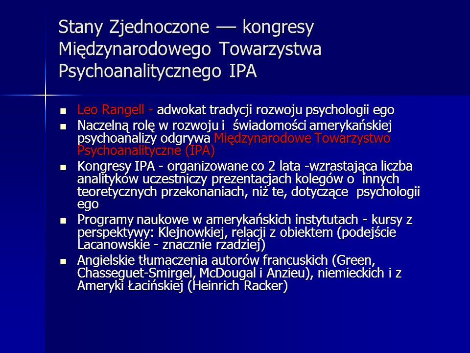 Stany Zjednoczone –– kongresy Międzynarodowego Towarzystwa Psychoanalitycznego IPA