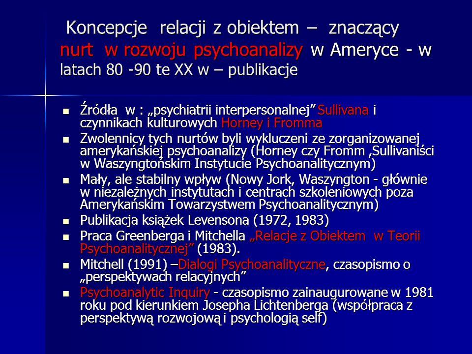 Koncepcje relacji z obiektem – znaczący nurt w rozwoju psychoanalizy w Ameryce - w latach 80 -90 te XX w – publikacje