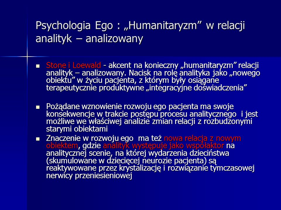 """Psychologia Ego : """"Humanitaryzm w relacji analityk – analizowany"""