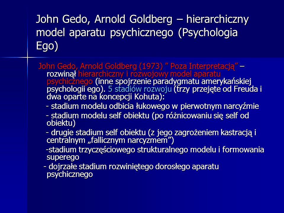 John Gedo, Arnold Goldberg – hierarchiczny model aparatu psychicznego (Psychologia Ego)