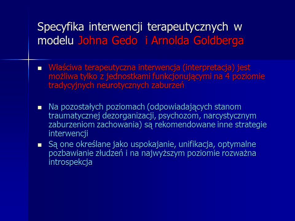 Specyfika interwencji terapeutycznych w modelu Johna Gedo i Arnolda Goldberga