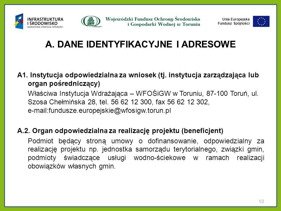 A. DANE IDENTYFIKACYJNE I ADRESOWE