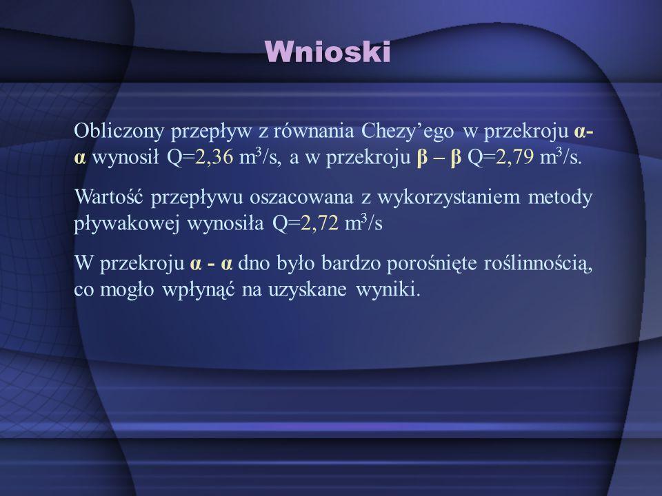 Wnioski Obliczony przepływ z równania Chezy'ego w przekroju α-α wynosił Q=2,36 m3/s, a w przekroju β – β Q=2,79 m3/s.