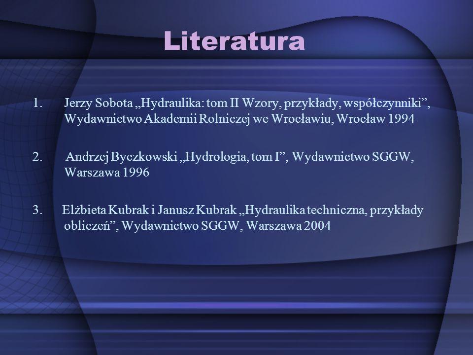 """Literatura Jerzy Sobota """"Hydraulika: tom II Wzory, przykłady, współczynniki , Wydawnictwo Akademii Rolniczej we Wrocławiu, Wrocław 1994."""